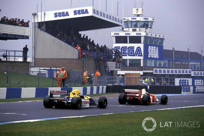 Ayrton Senna, McLaren MP4/8, devant Damon Hill, Williams FW15C