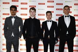 Enaam Ahmed, Daniel Ticktum, Max Fewtrell en Harrison Scott, finalisten van de McLaren Autosport BRDC Award