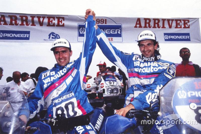 Winnaar Stéphane Peterhansel, Yamaha, tweede plaats Thierry Magnaldi, Yamaha