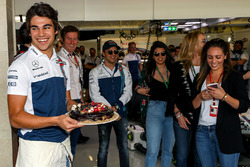 Lance Stroll, Williams with birthday cake celebrates his 19th Birthday with Rob Smedley, Williams Head of Vehicle Performance, Felipe Massa, Williams and family