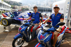 Pierre Gasly, Toro Rosso, poses with Brendon Hartley, Toro Rosso, with Honda motorcycles