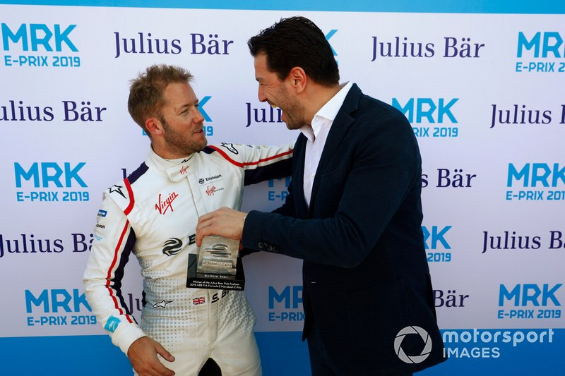 Sam Bird, Envision Virgin Racing, is presented with the Pole Position award