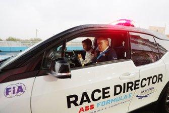 Sam Bird, Envision Virgin Racing, in the Race Director's car