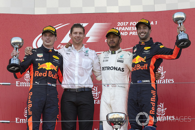 Max Verstappen, Red Bull, second place, James Vowles, Chief Strategist, Mercedes AMG F1, Race winner Third place Lewis Hamilton, Mercedes AMG F1 Daniel Ricciardo, Red Bull Racing, on the podium