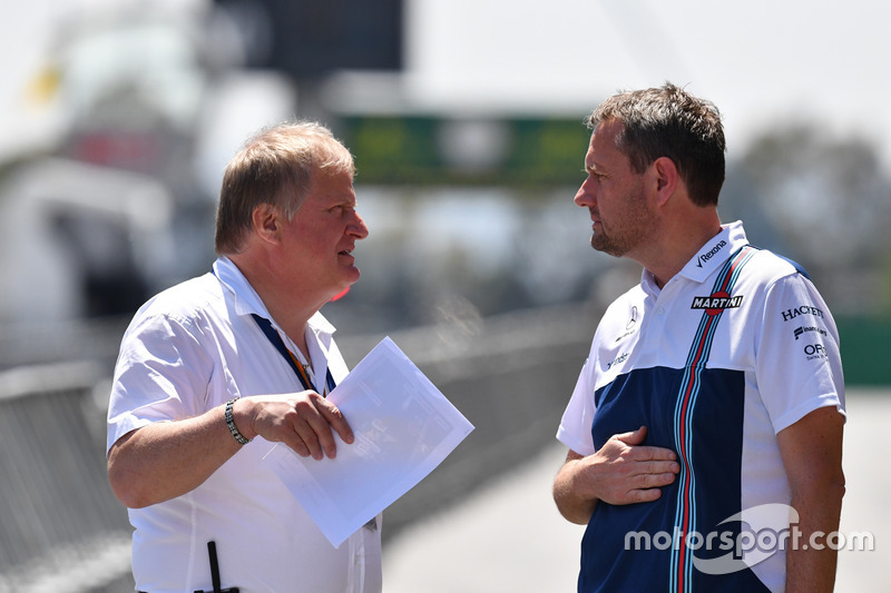 Jo Bauer, FIA Technical Delegate and Steve Nielson, Williams F1 Sporting Manager