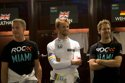 David Coulthard, Jenson Button and Sebastian Vettel