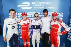 Pierre Gasly, Renault e.Dams, Felix Rosenqvist, Mahindra Racing, Sam Bird, DS Virgin Racing, Jean-Eric Vergne, Techeetah, and Nick Heidfeld, Mahindra Racing, celebrate after qualifying