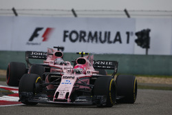 Esteban Ocon, Force India VJM10, leads Sergio Perez, Force India VJM10