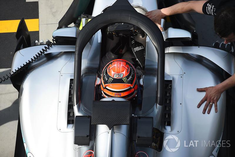 George Russell, Mercedes-Benz F1 W08 con el halo