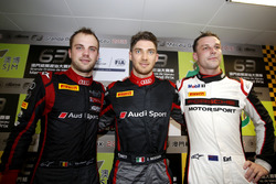 Top 3 after Qualifying; First place Edoardo Mortara, Audi Sport Team WRT Audi R8 LMS; second plce Laurens Vanthoor, Audi Sport Team WRT Audi R8 LMS; third place Earl Bamber, Manthey Racing Porsche 911 GT3-R