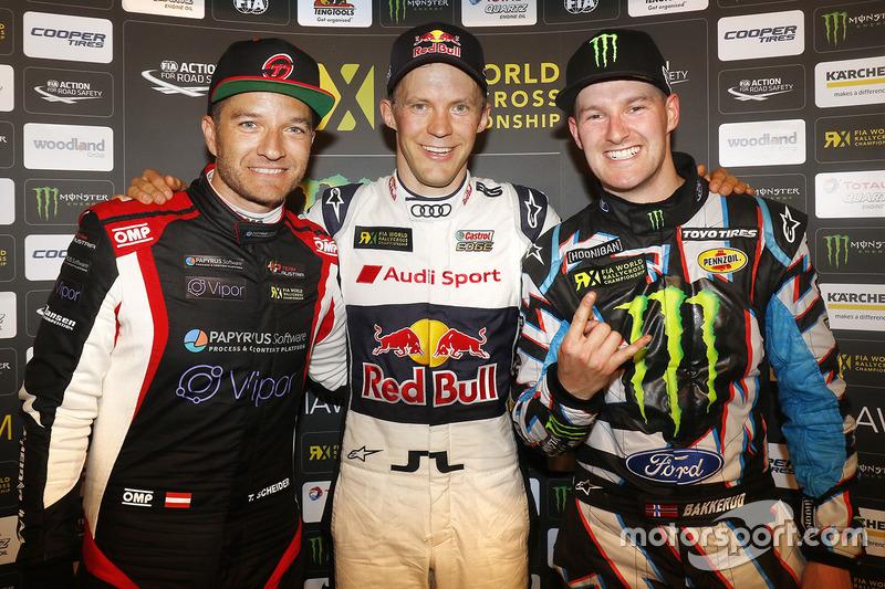 Ganador Mattias Ekström, EKS RX, segundo lugar Timo Scheider, MJP Racing Team Austria, tercer lugar Andreas Bakkerud, Hoonigan Racing Division