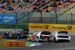 Toomas Heikkinen, EKS, Audi S1 EKS RX Quattro; Timmy Hansen, Team Peugeot-Hansen, Peugeot 208 WRX; Andreas Bakkerud, Hoonigan Racing Division, Ford Focus RSRX