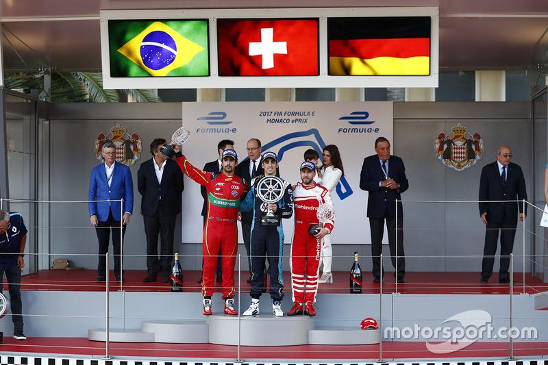 Podium: race winner Sébastien Buemi, Renault e.Dams, second place Lucas di Grassi, ABT Schaeffler Audi Sport, third place Nick Heidfeld, Mahindra Racing