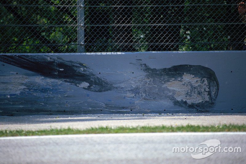 Marks on the wall at Tamburello corner after Ayrton Senna's fatal accident.