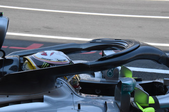 Vue détaillée du halo de la Mercedes-AMG F1 W09