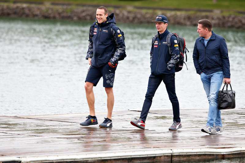 Max Verstappen, Red Bull Racing arrives at the circuit with father, Jos Verstappen