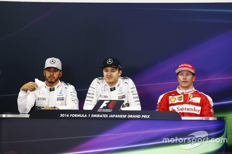 The post-qualifying press conference. L-R: Lewis Hamilton, Mercedes AMG, Nico Rosberg, Mercedes AMG and Kimi Raikkonen, Ferrari