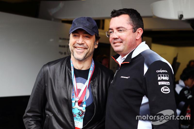 Зліва направо: Хавьєр Бардем, актор, та Ерік Бюльє,  гоночний директор McLaren