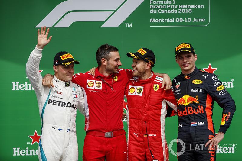 7. GP Kanada - Podium: Sebastian Vettel, Valtteri Bottas, Max Verstappen