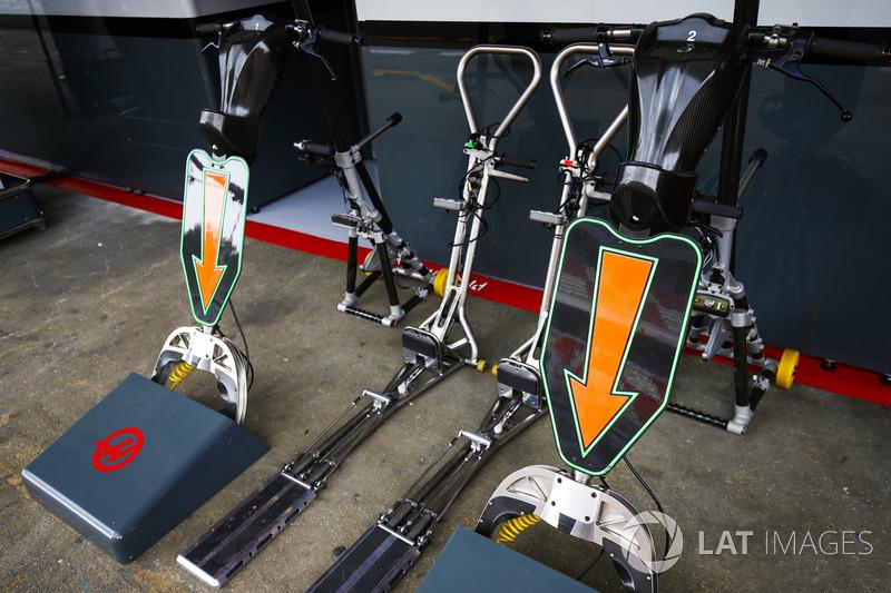 Equipo de pits Haas en el pit lane