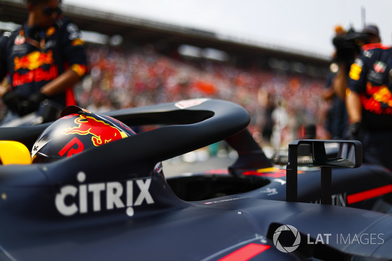 Max Verstappen, Red Bull Racing RB14, sur la grille