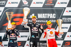 Podium: second place Jamie Whincup, Triple Eight Race Engineering Holden, winner Shane van Gisbergen, Triple Eight Race Engineering Holden, third place Scott McLaughlin, DJR Team Penske Ford
