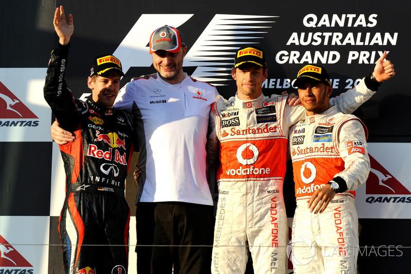 2012: 1. Jenson Button, 2. Sebastian Vettel, 3. Lewis Hamilton