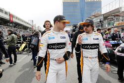 Stoffel Vandoorne, McLaren, and Fernando Alonso, McLaren, on the grid