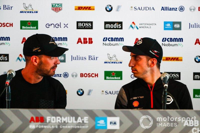 Jean-Eric Vergne, DS TECHEETAH, talks to Sébastien Buemi, Nissan e.Dams in the press conference