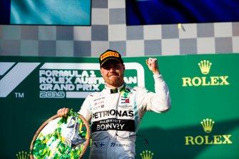 Valtteri Bottas, Mercedes AMG F1, 1st position, celebrates with his trophy