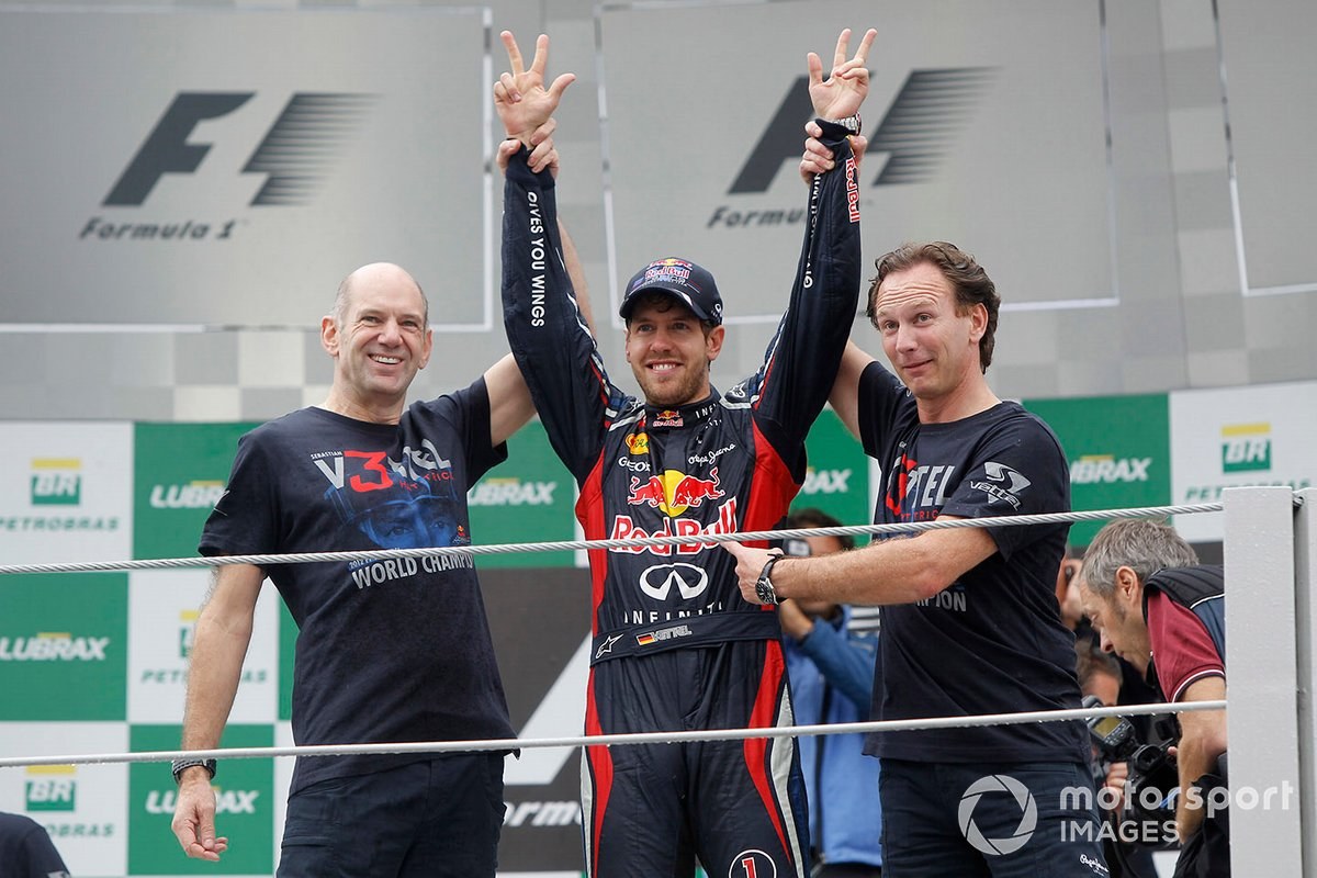 Sebastian Vettel, Red Bull Racing, Christian Horner, Team Principal, Red Bull Racing, Adrian Newey, Red Bull Racing