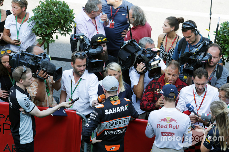 (L to R): Nico Hulkenberg, Sahara Force India F1 and Max Verstappen, Red Bull Racing with the media