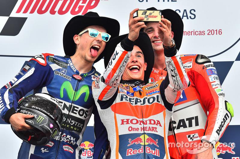 Podium: race winner Marc Marquez, Repsol Honda Team, second place Jorge Lorenzo, Yamaha Factory Racing, third place Andrea Iannone, Ducati Team