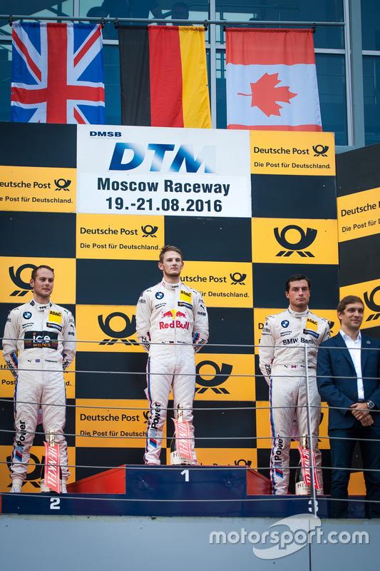 Podio: il secondo classificato Tom Blomqvist, BMW Team RBM, BMW M4 DTM; il vincitore della gara Marco Wittmann, BMW Team RMG, BMW M4 DTM; il terzo classificato Bruno Spengler, BMW Team MTEK, BMW M4 DTM