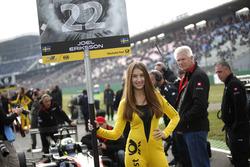 Grid girl of Joel Eriksson, Motopark Dallara F312 - Volkswagen