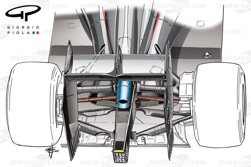 McLaren MP4-30 von 2015, Detail der Hinterradaufhängung