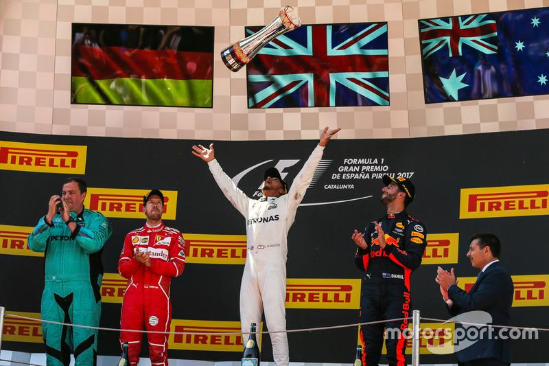 2017: 1. Lewis Hamilton, 2. Sebastian Vettel, 3. Daniel Riccardo