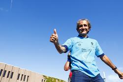 Alain Prost, celebrates on the podium