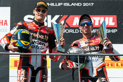 Podium: second place Chaz Davies, Ducati Team, third place Marco Melandri, Ducati Team