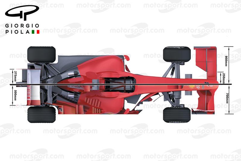 Ferrari F2008 en F60 vergelijking van bovenaf