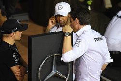 Valtteri Bottas, Mercedes AMG F1, Lewis Hamilton, Mercedes AMG F1 and Toto Wolff, Mercedes AMG F1 Director of Motorsport