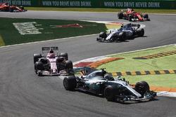Valtteri Bottas, Mercedes AMG F1 W08, Esteban Ocon, Sahara Force India F1 VJM10, Lance Stroll, Williams FW40, Sebastian Vettel, Ferrari SF70H