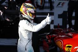 Lewis Hamilton, Mercedes AMG, 2nd Position, celebrates in Parc Ferme