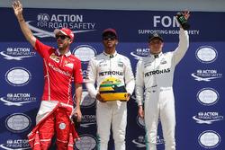 Qualifying Top 3: polesitter Lewis Hamilton, Mercedes AMG F1, second place Sebastian Vettel, Ferrari, third place Valtteri Bottas, Mercedes AMG F1