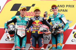 Podium: second place Nicolás Terol, Race winner Marc Marquez, third place Bradley Smith