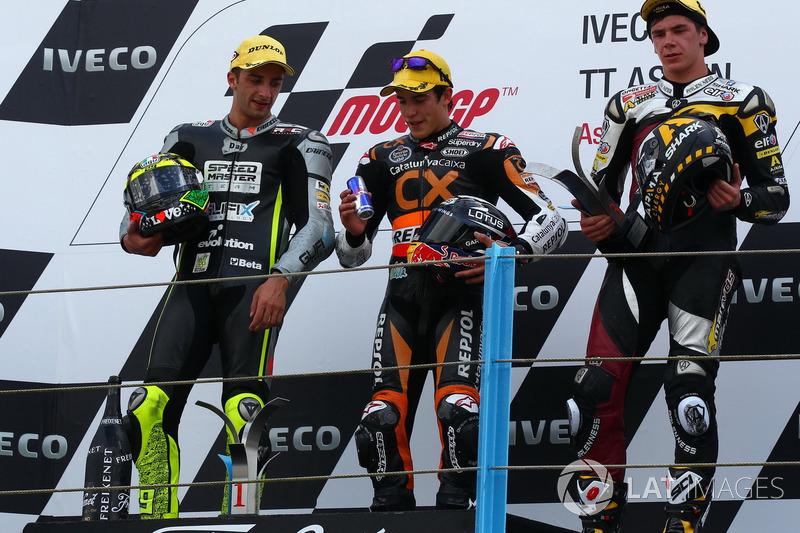 Podium : 1er Marc Márquez, 2e Andrea Iannone, 3e Scott Redding