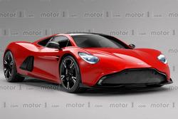 Aston Martin mid engine sports car rendering