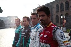 Lucas Di Grassi, Audi Sport ABT Schaeffler, Sebastien Buemi, Renault e.Dams, Nelson Piquet Jr., Jaguar Racing et Luca Filippi, NIO Formula E Team
