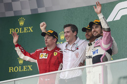 Podium: race winner Lewis Hamilton, Mercedes-AMG F1, second place Kimi Raikkonen, Ferrari, third place Sergio Perez, Force India