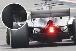 Lewis Hamilton, Mercedes AMG F1 W08 with damaged floor